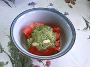 冷やしトマトと、きゅうりのドレッシング
